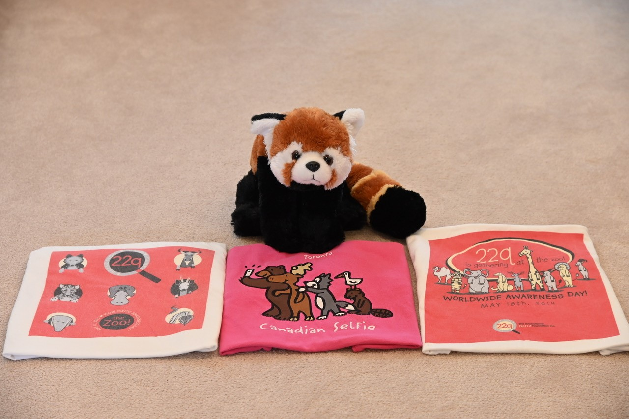 stuffed red panda with zoo day t-shirts